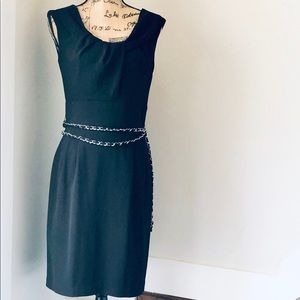 White House Black Market Black Dress with Belt NWT